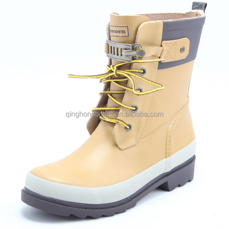 fashion latest lace up rubber rain boots