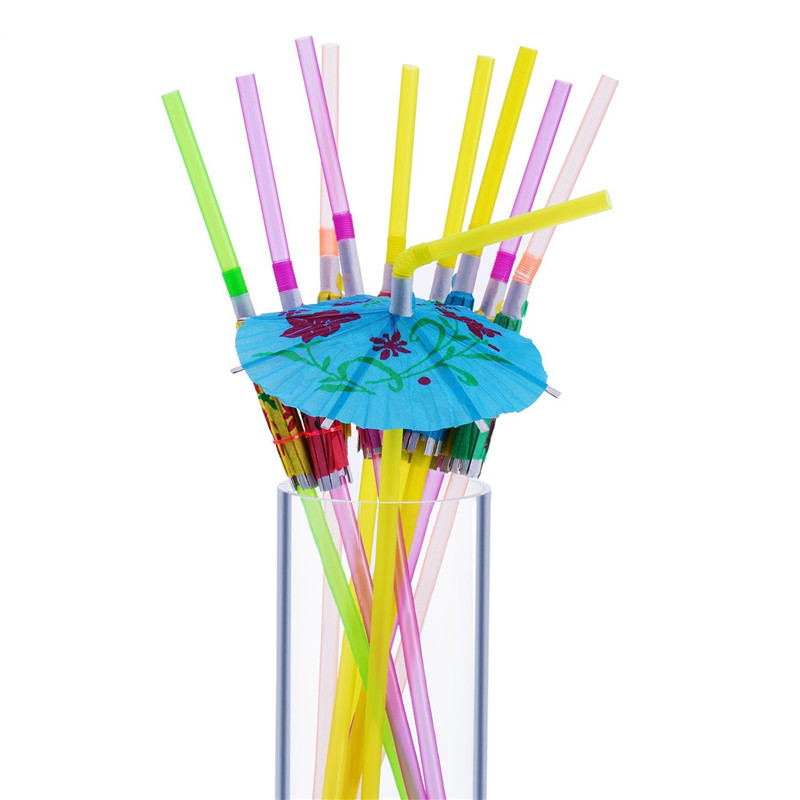 50pcs/bag umbrella Plastic Straws drinking Decoration Straw event and party supplies <strong>wedding</strong>