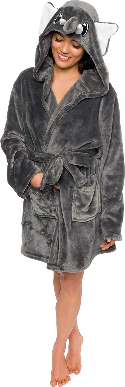 Silver Lilly Women's Animal Hooded Robe - Plush Short Elephant Bathrobe by