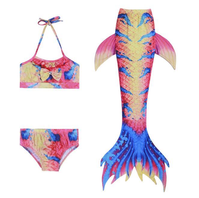 Swimming Pool Bikini Ensemble Top 3 pcs Queue de Sirene Maillot de Bain Culotte Shorts Costume Plage Swimsuit Neuf Maillot de Bain Sir/ène Enfant Fille Summer Raving