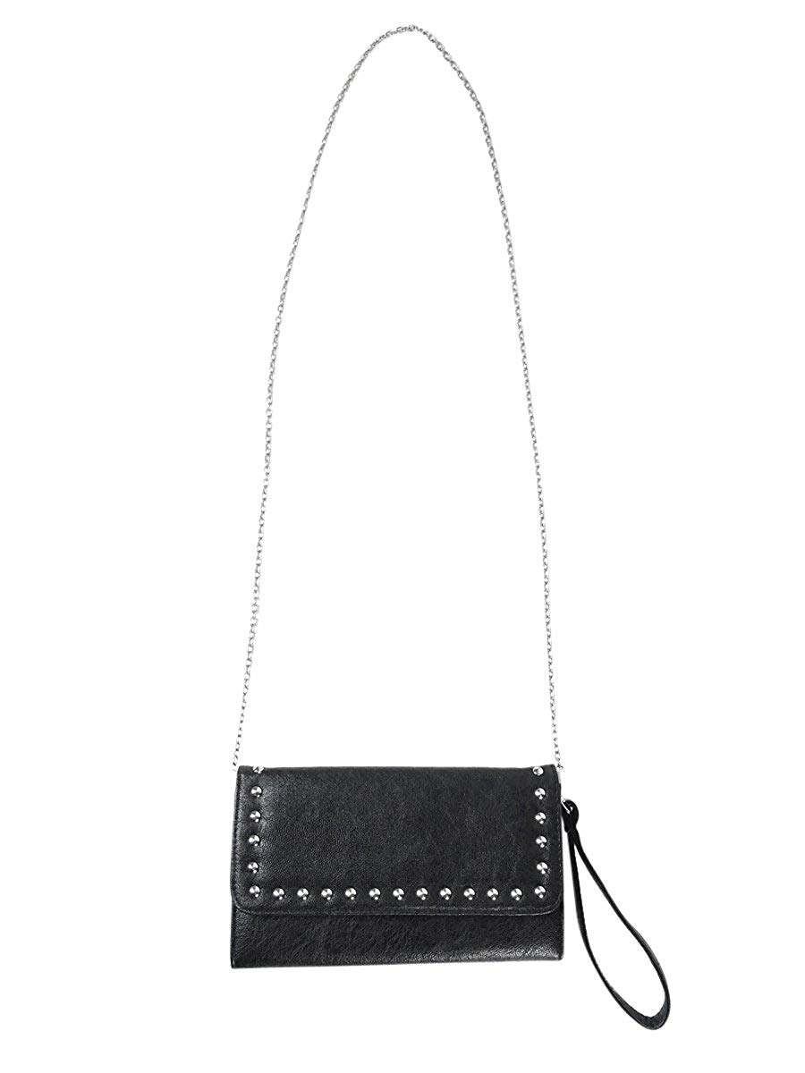 6a0676c317 Get Quotations · Material Girl Studded 3-in-1 Faux Leather Clutch Crossbody