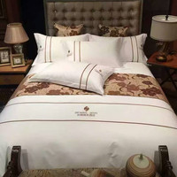4 Pieces High Quality White Hotel Bedding Sets 5 Star 100% Cotton