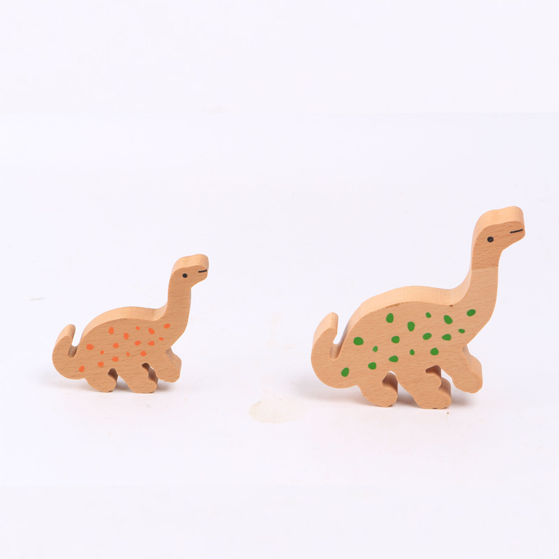 Solid wood colorful dinosaur family educational toy wooden dinosaur