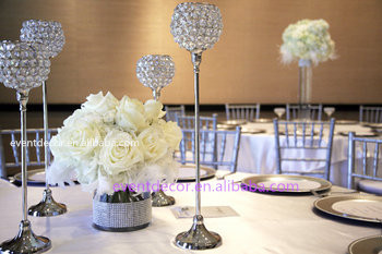 beautiful crystal centerpieces, tall silver candle holders for ...
