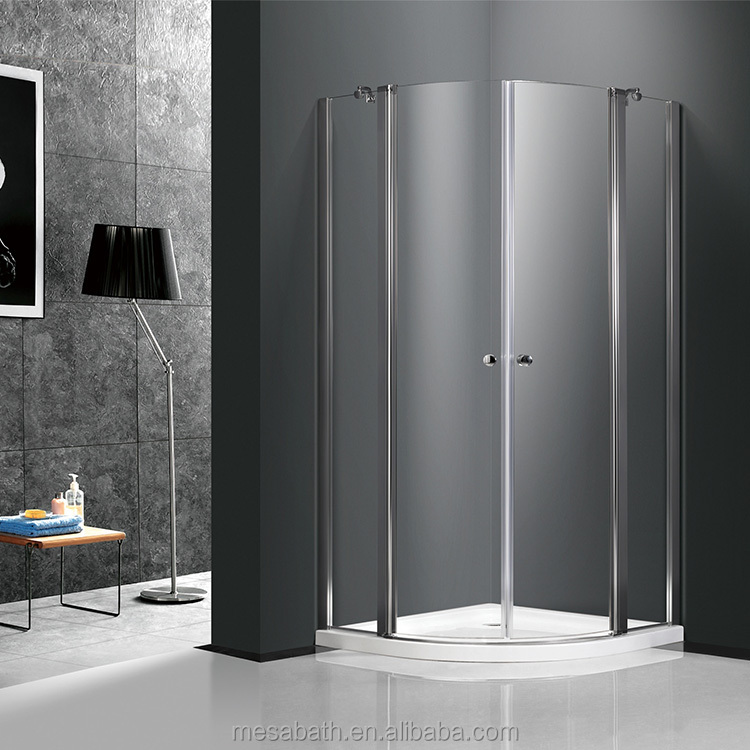 Cheap sector stone base frameless bathtub doors shower enclosure with plastic or metal handel