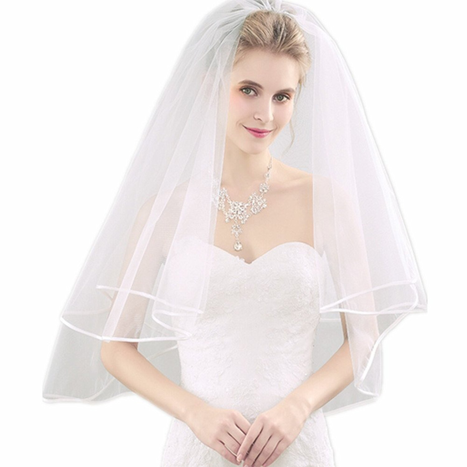 Gofypel Wedding Bridal Veil 2 Layers Tulle Veils with Comb Lace White/Ivory Veil