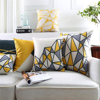 Grey and yellow geometrical velvet printed cushion cover