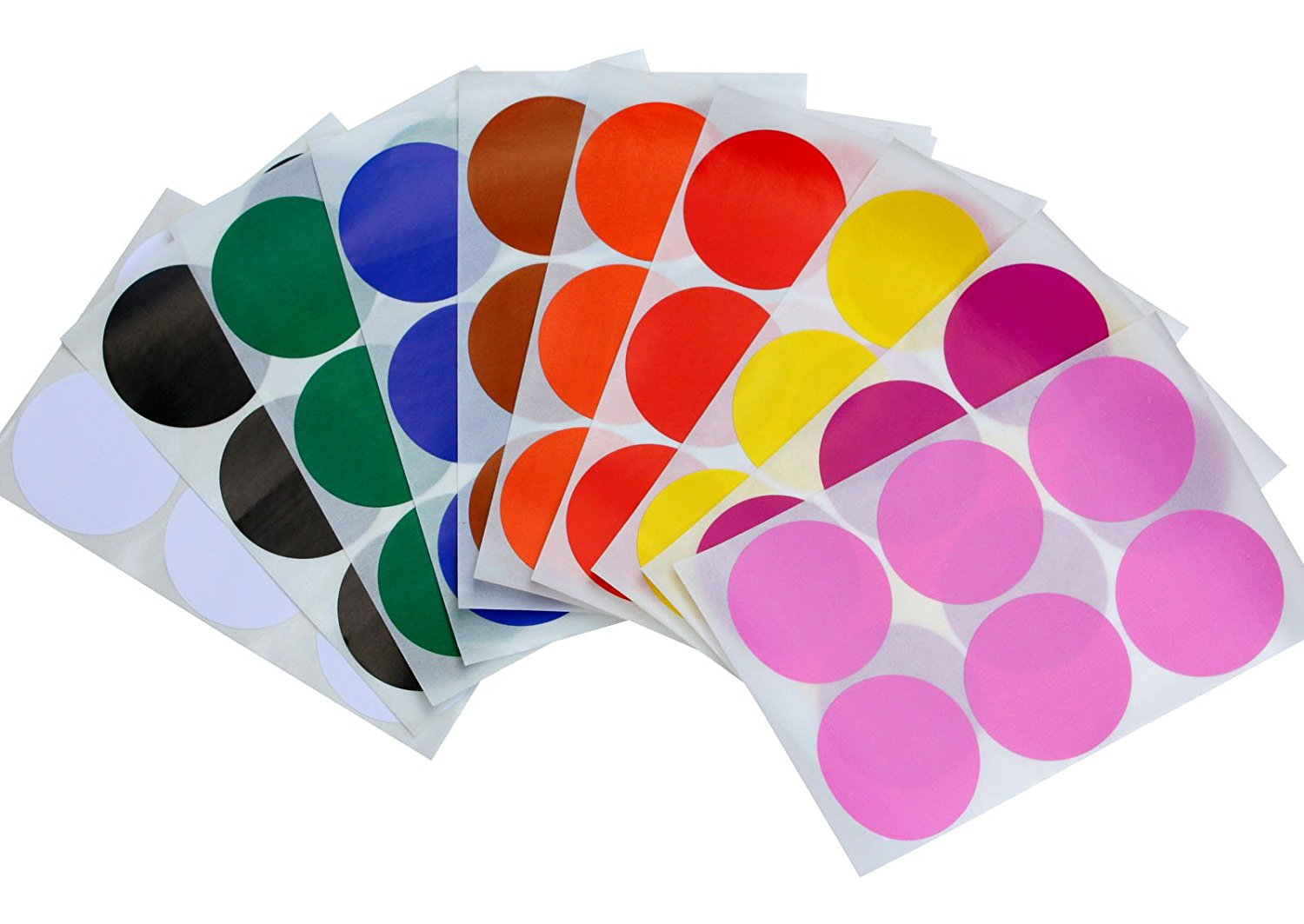 """Round 2"""" inch Dot Stickers 10 Assorted Colors - Red, Yellow, Brown, Orange, Blue, Green, White, Black, Purple and Pink - 50mm Write on labels - Easy Peel - two inch Labels for Color coding - 72 Pack"""
