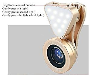 Special mobile phone camera as the fill light + 0.4 X to 0.6 X wide-angle + 15 X macro 3 in 1,Clip on Cell Phone Lens Camera Lens Kits for Iphone 6s, 6, 5s, Galaxy & Most Smartphones (gold)
