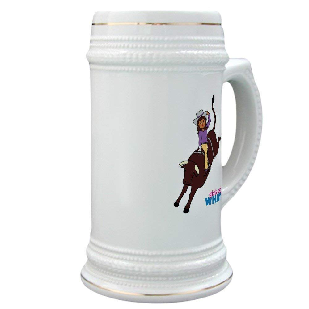 CafePress - Bull Rider Dark - Beer Stein, 22 oz. Ceramic Beer Mug with Gold Trim