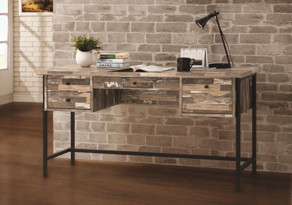 1PerfectChoice Rustic Style Writing Computer Office Desk w/ Drawers Salvaged Cabin Black Metal