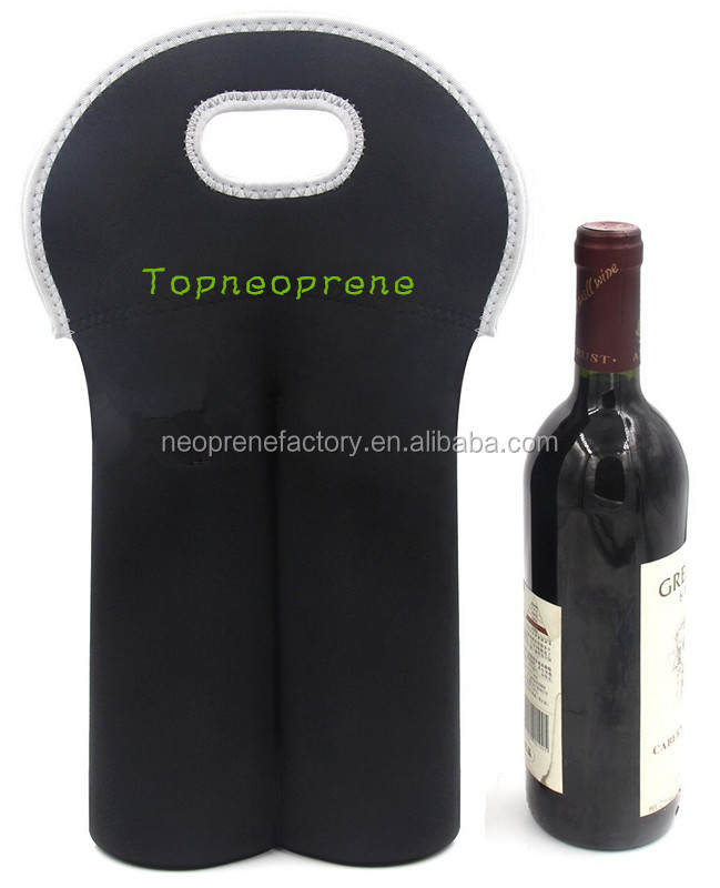 Promotional Logo Printed Neoprene two pack bottle wine tote/ cooler bag/holder/sleeves