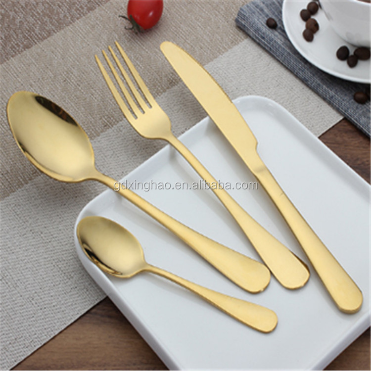 Simple Design Gold <strong>Stainless</strong> Steel Cutlery Gold Flatware Set