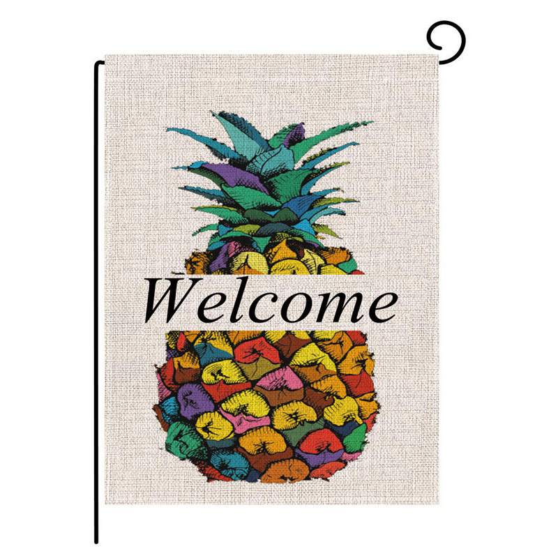 Double-sided Pineapple Welcome Friends Hello Summer Garden Flag Banner