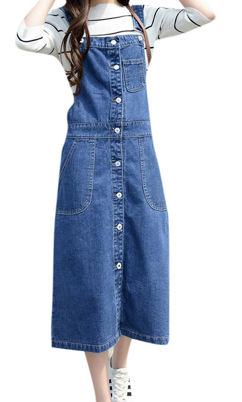 cc88e05a6e3 Get Quotations · Skirt BL Women s Vintage Plus Size Blue Romper Denim  Overall Jean Skirt Dress