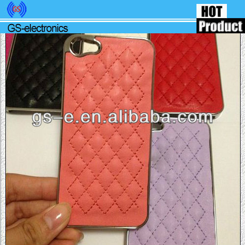 Protective Grid lambskin PC + Leather PU Case For iPhone 4s 5