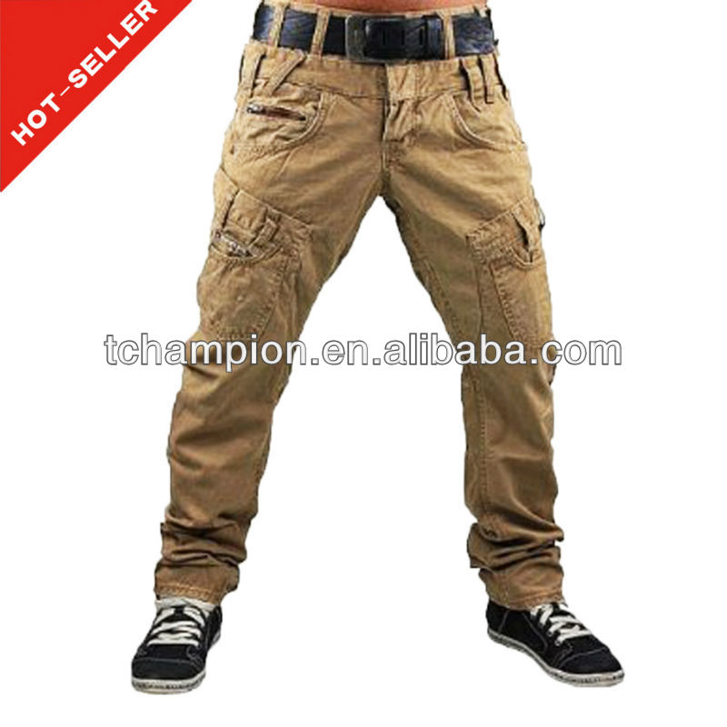 (#TG413P ) 2013 latest design yellow rubber ripped chinos ruffle pants