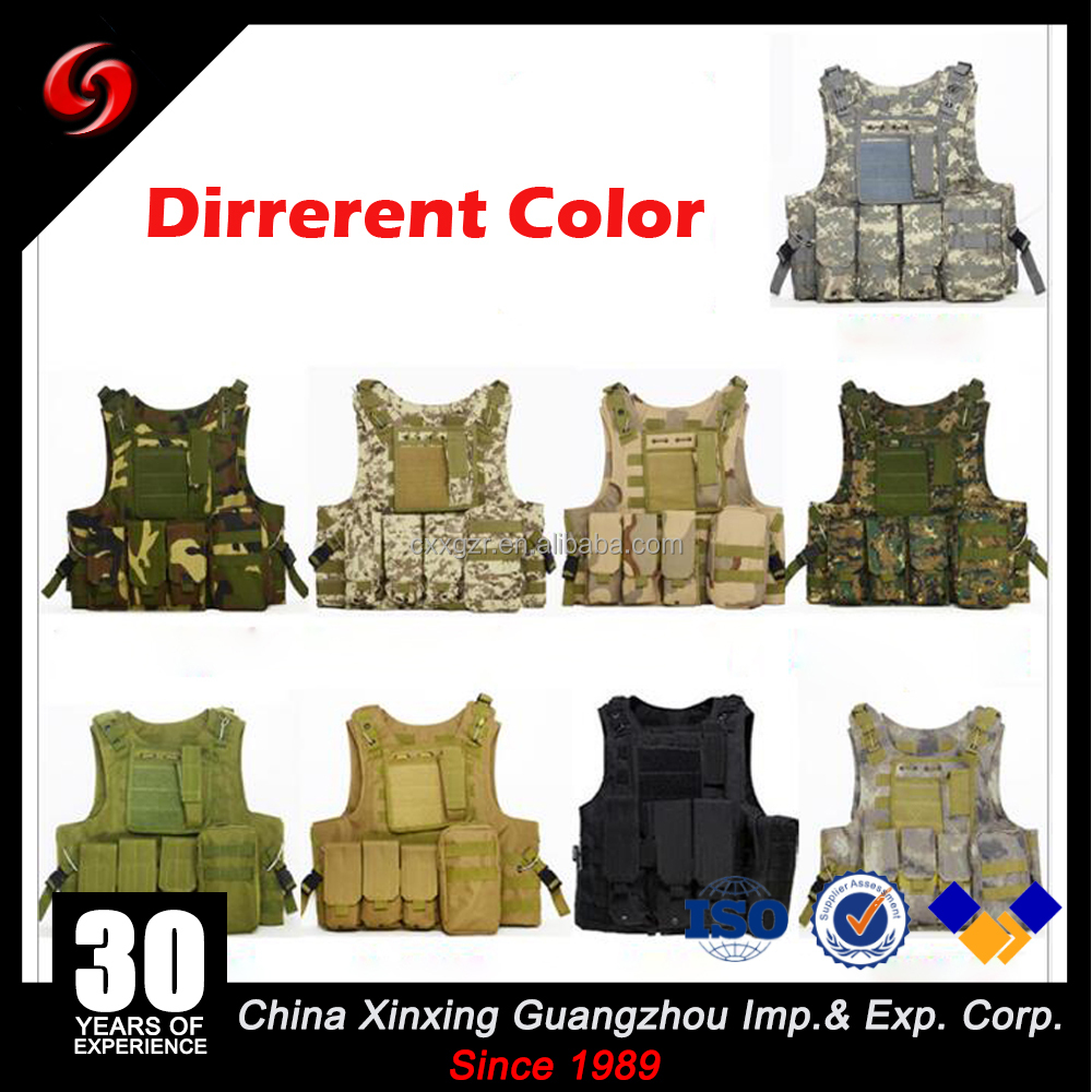 Hot selling military airsoft 600D black tan green magazine pouch tactical vest