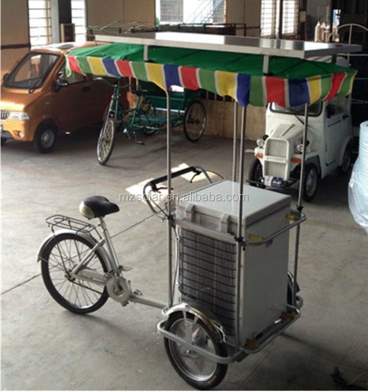 Solar Powered Ice Cream Freezer Tricycle Bikes With