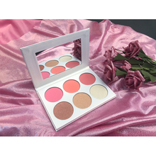 OEM ที่กำหนดเอง Shimmer Face Body Foundation Blush Highlither Palette Pressed Powder