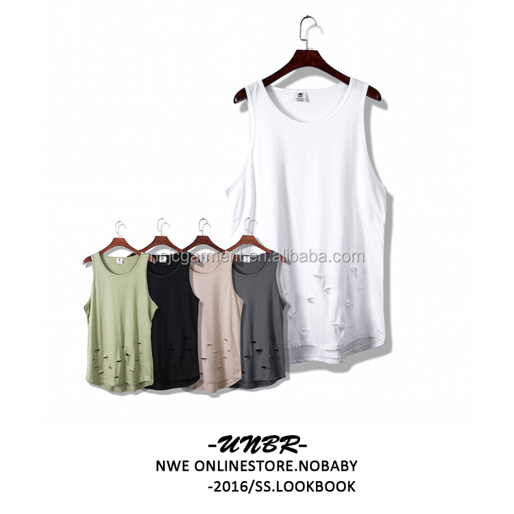 Wholesale 2016 US hip hop streetwear kanye west style men unisex destroyed holes oversize ripped tank top yeezys