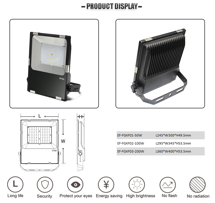 High lumens aluminum 150w led flood light for sport ground lighting
