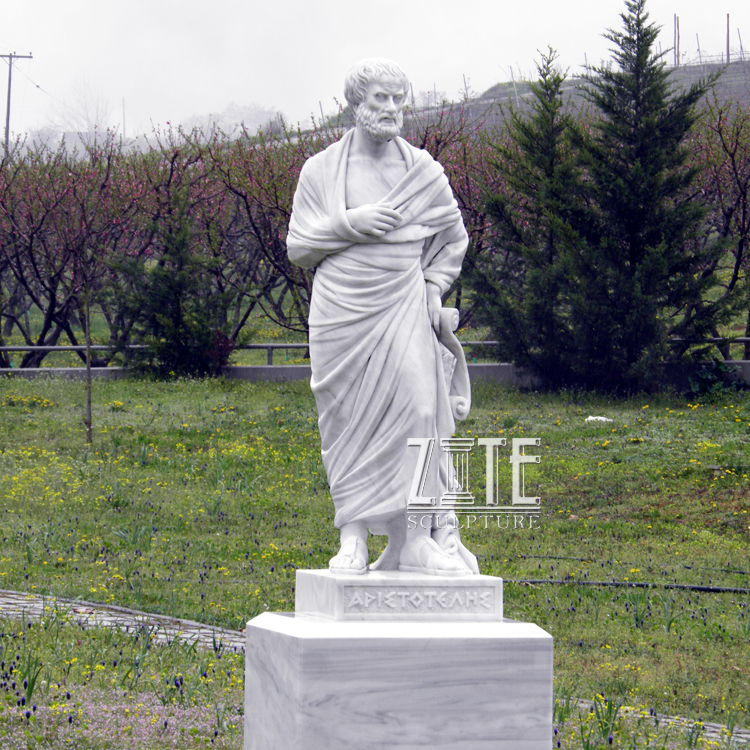 Life size natural stone figure sculpture marble aristotle statue