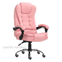 Multi-functional pink Leather Swivel Executive Computer Office Chair