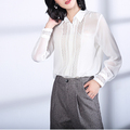 Women Clothing Striped Chiffon Long Sleeve Blouse OL Female Shirt