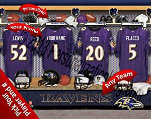 Baltimore Ravens Team Locker Room Clubhouse Personlized Officially Licensed NFL Photo Print