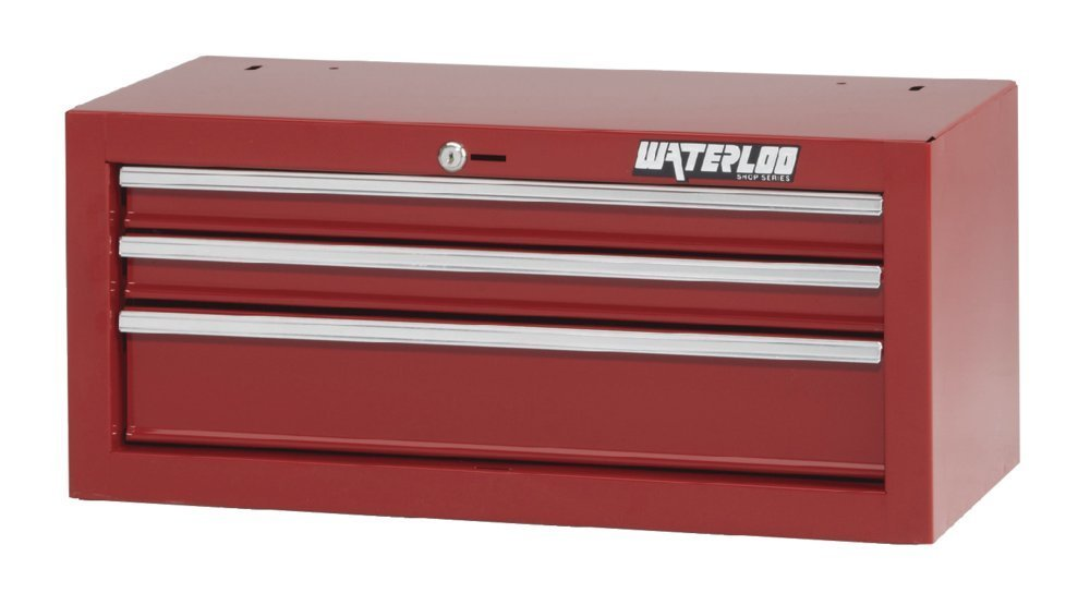 """Waterloo Shop Series 3-drawer Intermediate Tool Chest with Full-Extension Friction Drawer Slides, Red Finish, 26"""" W"""
