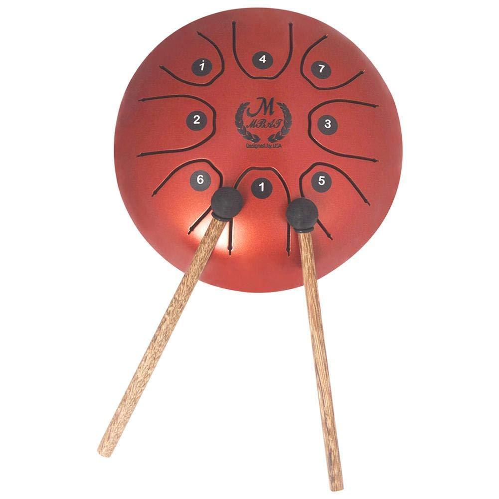 5.5InchMiniSteelTongueDrum HandpanBrahmaDrum Fanyin Drum Worrying Drum Empty Drum with 1PC Folk-Custom Drum Bag 2PCS Drum Sticks for Camping, Yoga, Meditation, Music Therapy/Orange