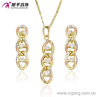 63708 Fashion bridal jewelry sets long chain elegant costume italian gold jewelry set