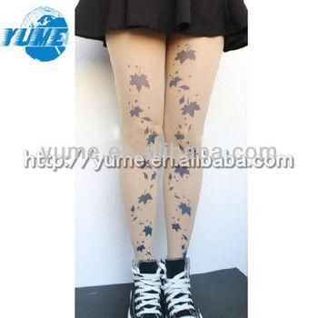 Moda Calle Harajuku Moda Maple Leaf Tatuaje Sheer Aerógrafo