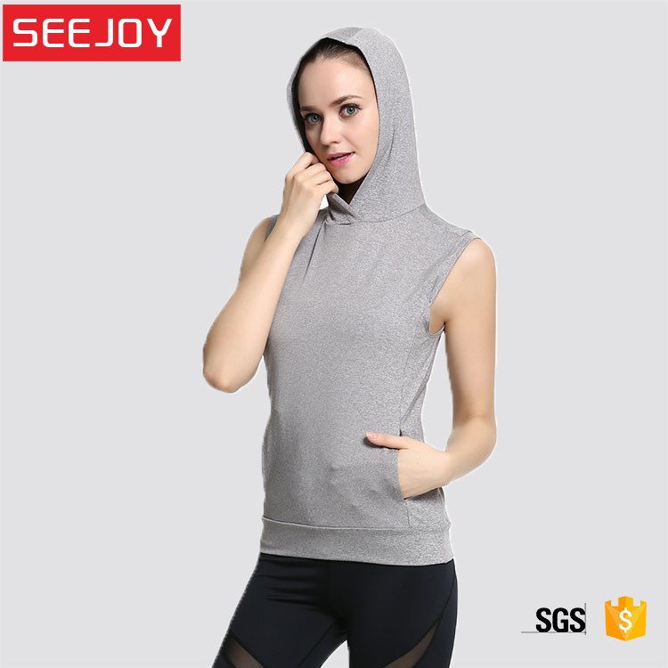OEM women pocket gym sport workout yoga fitness tank top with hood