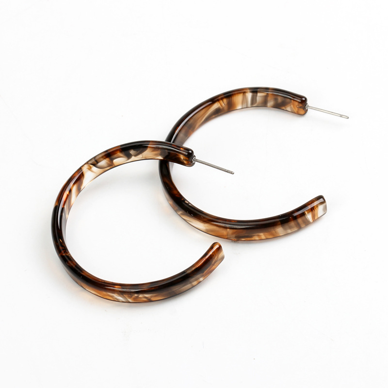 4CM  Light Tortoiseshell Chunky C Shaped Hoop Earrings 4 pairs/set Acrylic Acetate Hoop Earrings Set