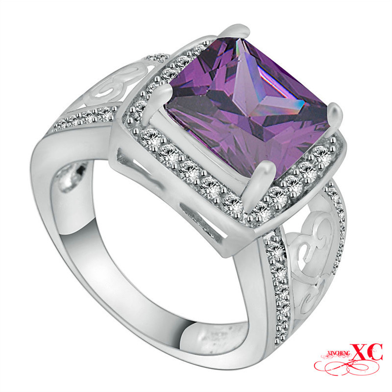 Size 6/7/8/9/10 Fine Jewelry Amethyst Sapphire Purple Zircon New Wedding Finger Rings Lady 14KT White Gold Filled Ring RW0758