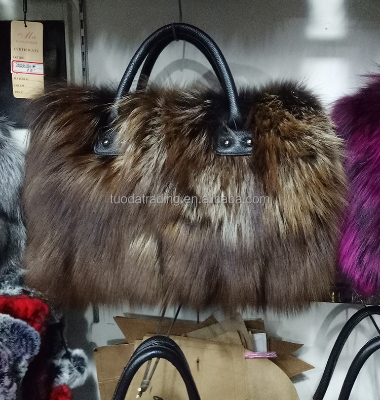 2017 new arrival women real fox fur tote bag brown in stock wholesale