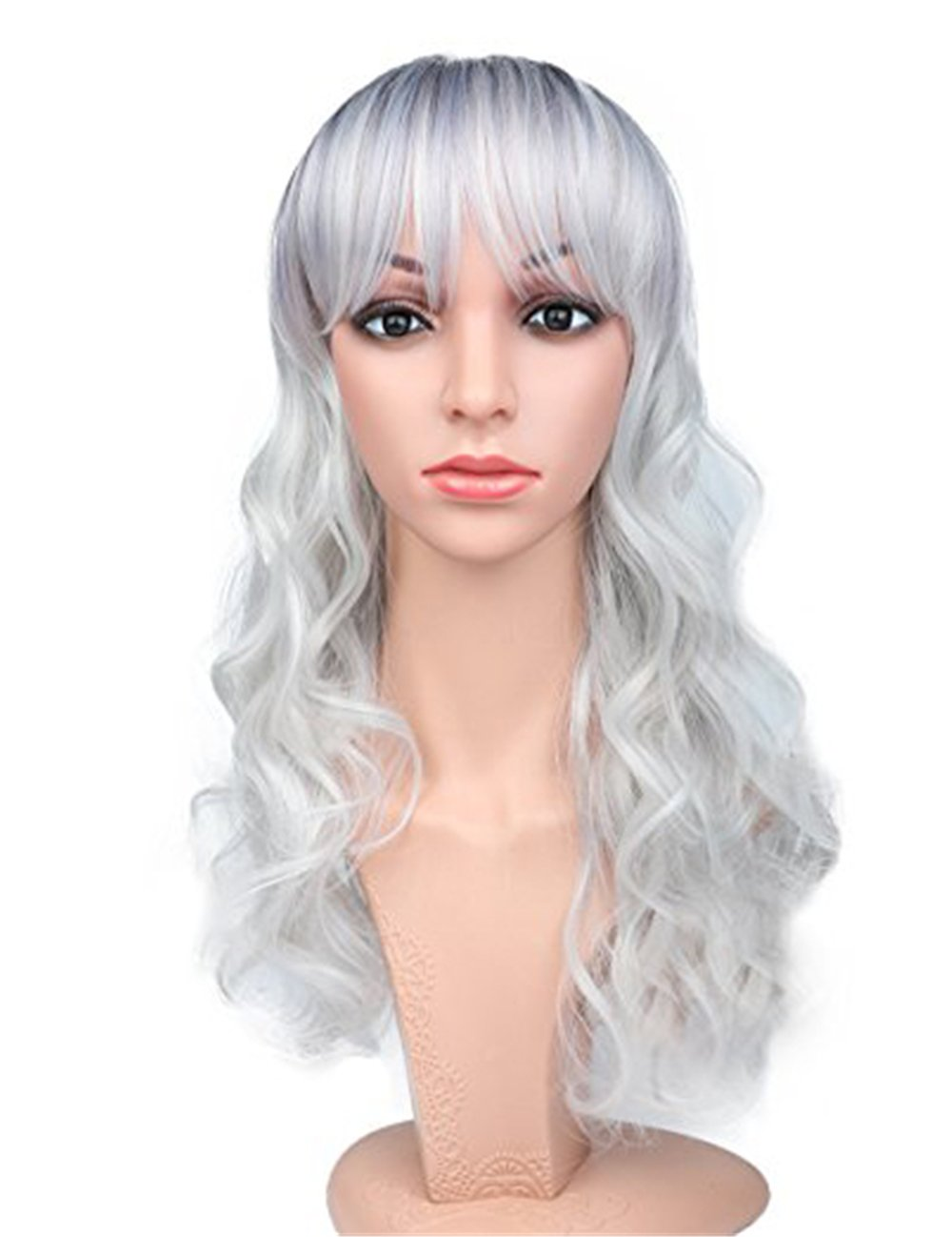 Fani Cosplay Wig Long Body Wave Curly Wig Side Bangs Wig With Free Wig Cap Two Tone Black and Grey Ombre Wig Synthetic Wigs