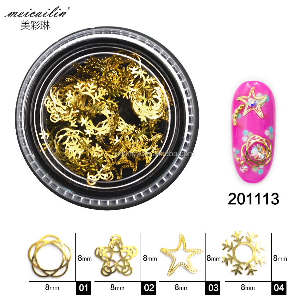 Snow Flake Flower Shape Metal Alloy Golden Sticker for Nail art decoration