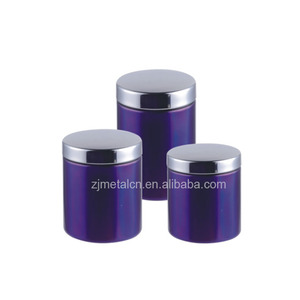 Stupendous 3Pcs Stainless Steel Kitchen Canister Purple Tea Suggar Coffee Canister Jar Sets With Window Best Image Libraries Thycampuscom