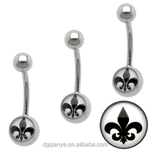 Hot sale Stainless steel Image Belly Navel Bar Logo Belly Ring