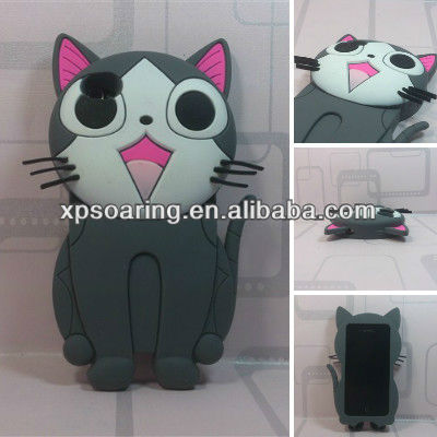 for iphone 4g 4s Cheese cat silicone case back cover