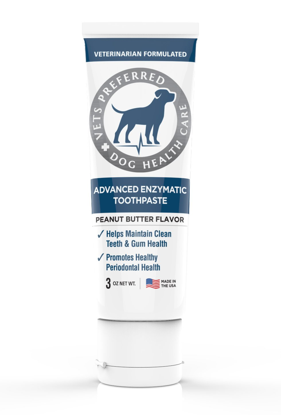 Vets Preferred Brand New! Advanced Enzymatic Toothpaste for Dogs - VETERINARIAN-GRADE, Safe and Natural Dog Toothpaste - Freshens Dog Breath, Fights Plaque And Reduces Tartar, Peanut Butter Flavor