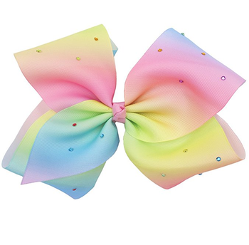 """8"""" Large Solid Ribbon Rainbow Bows Alligator Clips With ..."""