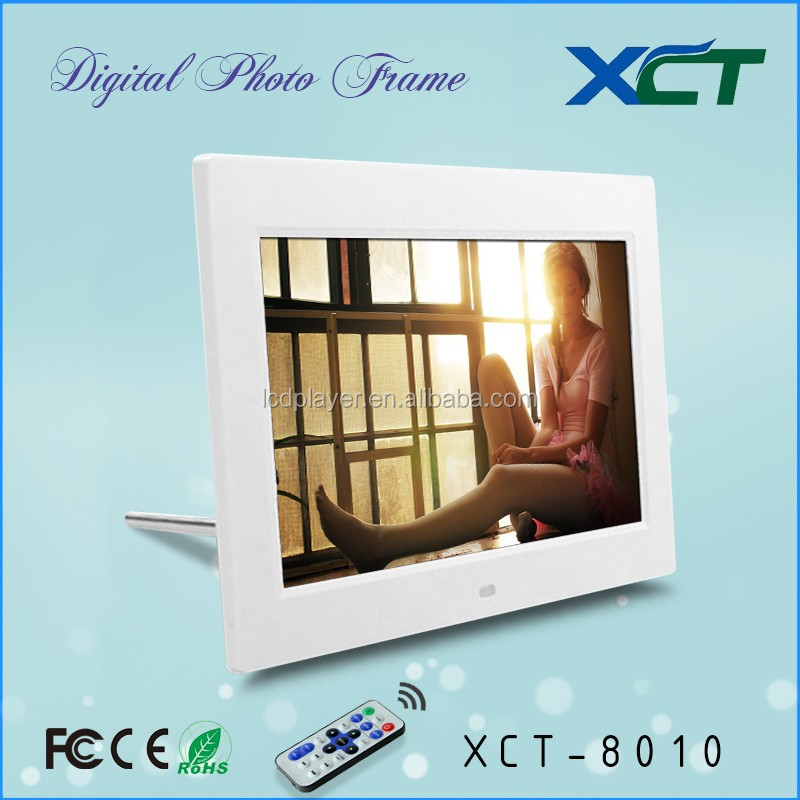 Wholesale bulk wall mounted gif lcd led 8 inch video loop digital picture frame with sd/usb port ce rohs XCT-8010