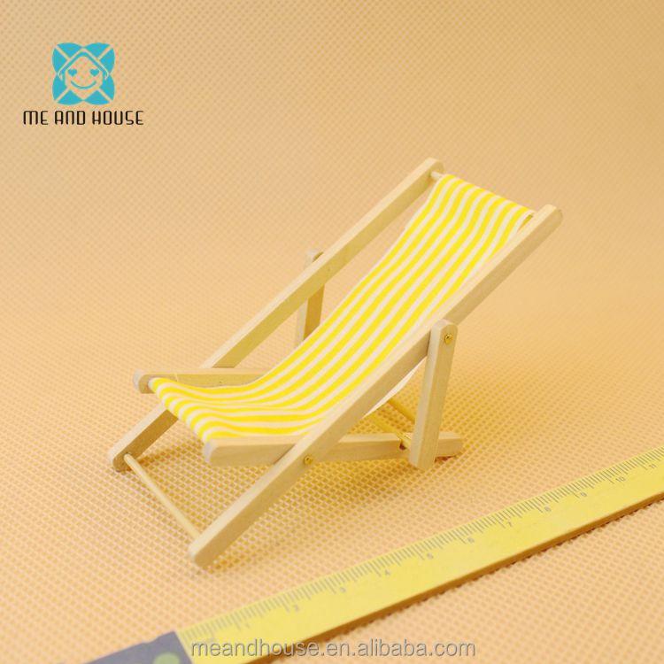 Escala 1:12 muebles en miniatura raya amarilla y Blanca floding ...