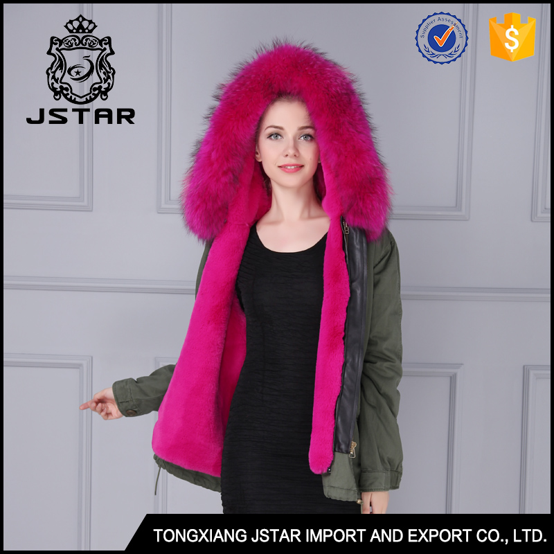 Real fur hooded winter coat wholesale pretty woman clothing for winter