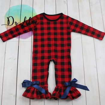 Dolike baby long sleeves red/black grid organic cotton baby clothes rompers with bowknots baby winter clothes wholesale