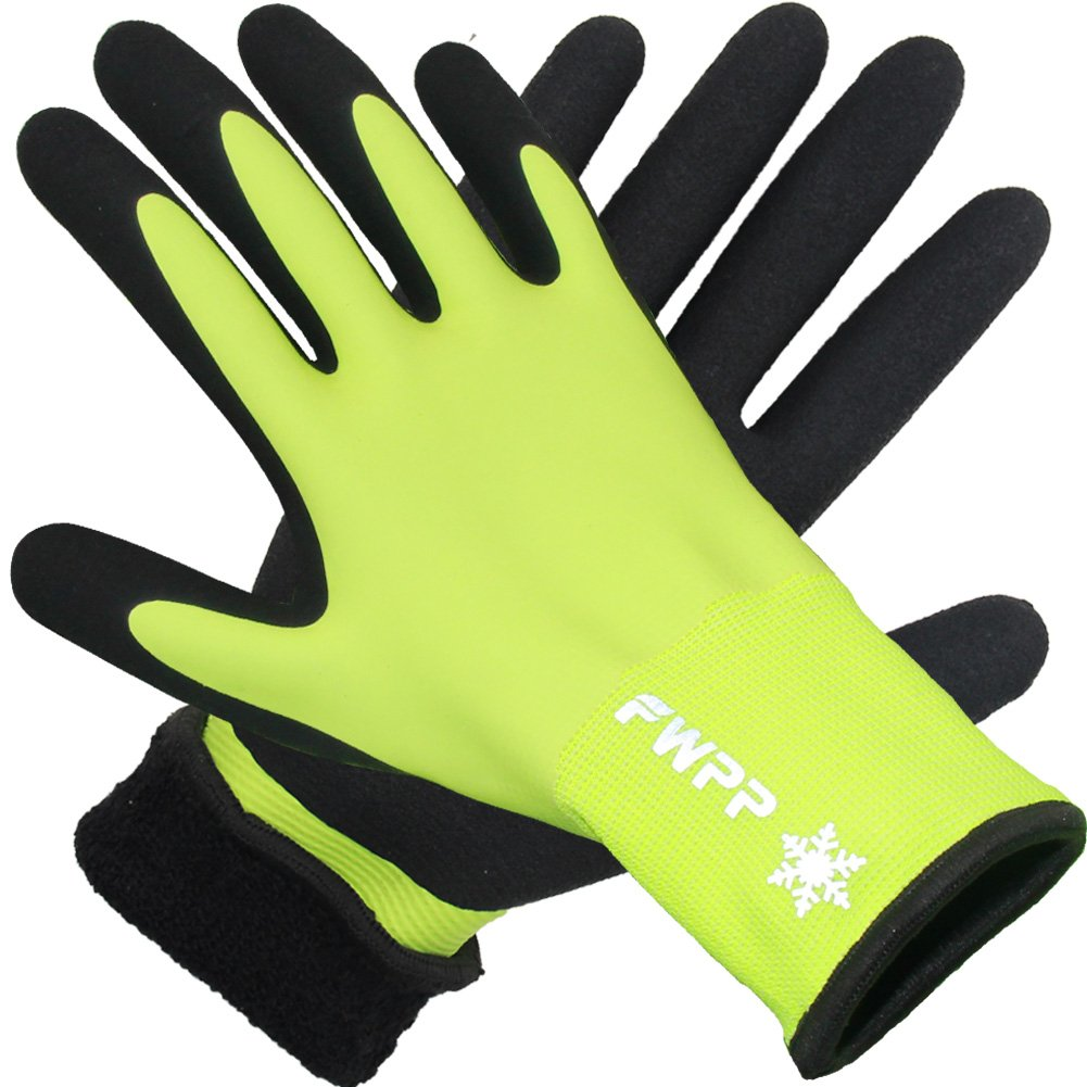 FWPP High Visibility Full Thermal Lining Winter Work Gloves Skid Resistance Keep Warm Cold Weather Ourdoor Safety Gloves Yellow and Black Pack of 1Pair X Large